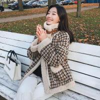 新年特惠格子短外套女冬季18新款韩版宽松羊羔毛加厚学生百搭毛呢外套 卡其格