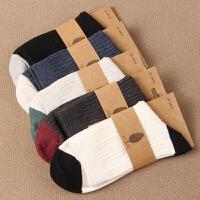 秋冬加厚保暖双针男袜男士中筒精梳袜子中长腰简约时尚潮流袜