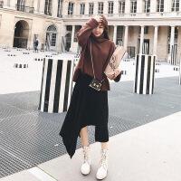 毛衣加裙子赫本风网红御姐套装两件套轻熟风宽松显瘦冬季洋气大码 咖色毛衣+黑色半身裙