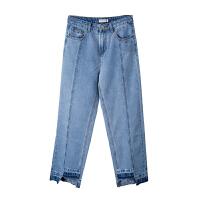 [全场300-30,仅限1.22,新品价119]唐狮2019夏装新款牛仔裤女时尚拼接脚口不对称潮酷直筒牛仔裤Z