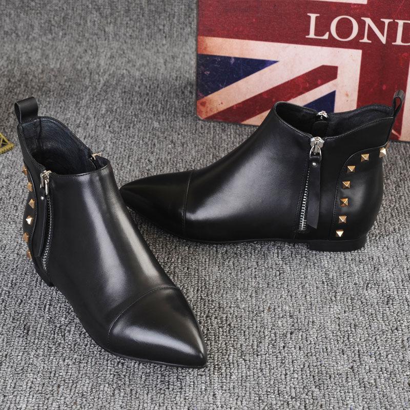 一件女鞋靴子秋季新款真皮平跟短筒头层牛皮舒适百搭皮鞋批发