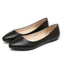 平底单鞋工作鞋女黑色浅口职业鞋舒适滑软底尖头平跟白色女皮鞋