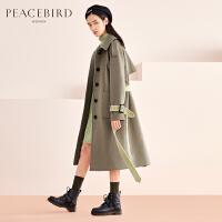 豆绿色风衣式毛呢外套女中长款春装2019新款赫本风过膝羊毛大衣女