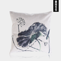 新中式中国风水墨荷花禅意沙发抱枕靠枕 简约客厅靠垫 棉麻抱枕套定制