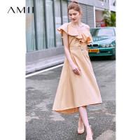 【券后预估价:168元】Amii极简设计感法式小众连衣裙夏季新修身配腰带不对称中长裙