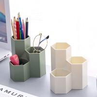 笔筒收纳盒ins风创意办公桌面个性六边形笔筒软装饰品摆件房间床头柜小摆设