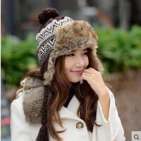时尚甜美兔毛帽子女针织毛线加厚雷锋帽时尚韩版加绒保暖护耳皮草
