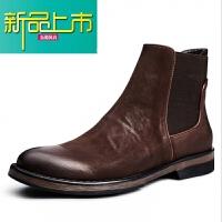 新品上市韩国专柜真皮男鞋高帮皮鞋男靴子冬季复古短靴英伦马丁靴