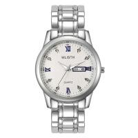 手表男 钢带日历防水时尚石英表情侣表腕表