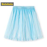 巴拉巴拉童装女童半身裙儿童短裙2019新款夏装中大童雪纺百褶裙女