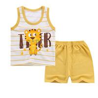 儿童套装 男女童时尚休闲卡通背心短袖2020夏季新款韩版中小童字母条纹两件套