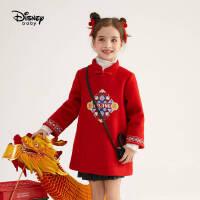 【今日3折�A估�r:166.2元】迪士尼女童古�L呢子棉服�和�秋冬外套拜年服
