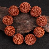 印尼大金刚菩提子手串6六7七8八9九瓣男手链天然满肉原籽红皮佛珠中秋节礼物品