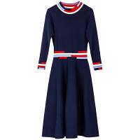针织连衣裙女中长款过膝2018新款冬季内搭秋冬打底加长毛衣裙加厚 藏蓝色