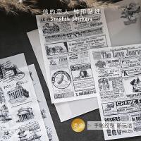 欧式复古烫金转印贴纸diy手账装饰贴画英文素材