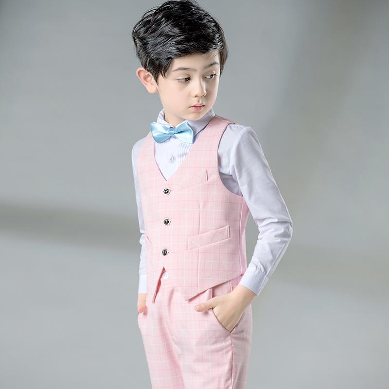 小孩走秀婚礼服装男童表演服儿童礼服花童演出服主持人马甲套装