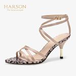 【秋冬新款 限时1折起】哈森 2019春季新款女鞋 性感酒杯跟一字带高跟露趾凉鞋 HM91416
