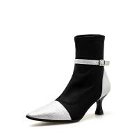 瘦瘦靴子秋冬高跟女鞋袜子靴女网红短靴2018新款韩版拼色弹力布