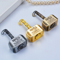 手指间旋转陀螺钥匙挂件玩具雷神之锤指尖陀螺减压复古合金锤子
