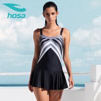 hosa浩沙女士泳衣 运动保守大码显瘦新款连体三角裙式游泳衣