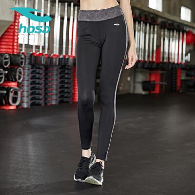 hosa浩沙瑜伽裤女紧身高腰提臀健身房弹力显瘦秋冬黑色运动外穿 平滑锁边 紧身版型