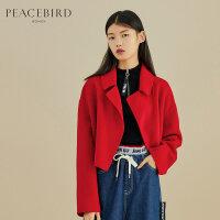 红色短款毛呢外套女春装2019新款长袖大翻领双面呢大衣太平鸟女装