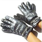 新款时尚户外韩版保暖百搭亮皮女式分指手套
