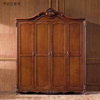 深色整体美式衣柜欧式五门衣橱板式衣柜古典 美式衣柜