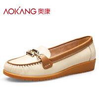 奥康女鞋休闲皮鞋简约低跟豆豆鞋 牛皮浅口圆头坡跟单鞋