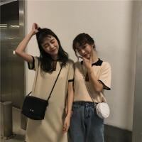 韩国学院风宽松拼色polo领两粒扣针织衫夏季bf短袖纯色连衣裙女