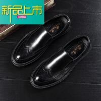 新品上市19春季一脚蹬男鞋英伦皮鞋男韩版潮流男士套脚休闲皮鞋男 黑色