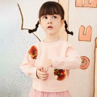 【秒杀价:135元】马拉丁童装女小童卫衣春装2020年新款洋气图案粉色套头卫衣