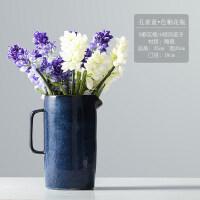 美式简约陶瓷花瓶蓝色插花风信子客厅家居装饰品创意花器花瓶摆件抖音