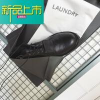 新品上市原创设计系带马丁靴 短靴皮靴男女 黑色