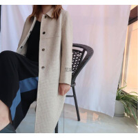 潮牌热推 反季促销纯羊毛呢纯色外套呢大衣女中长款羊绒西装领妮子