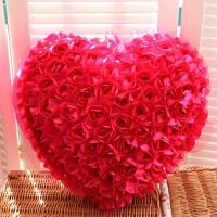 七夕情人节礼物婚庆99朵玫瑰花心形抱枕靠垫车装饰品家居沙发摆件