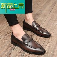 新品上市春季男士尖头皮鞋英伦韩版真皮一脚蹬休闲皮鞋欧美复古型师潮鞋