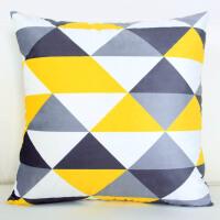 双面现代简约几何图案黄灰色抱枕靠枕客厅沙发样板房抱枕靠垫