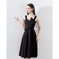 2019新款黑色小晚礼服裙女新款冬款气质洋装生日派对连衣裙吊带礼
