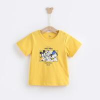 【99元3件】迪士尼童装男童儿童纯棉多彩短袖T恤2020年夏季中小童上衣帅气潮