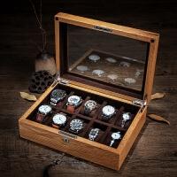 橡木实木质手表盒玻璃天窗男女机械表腕表收纳盒子 带锁