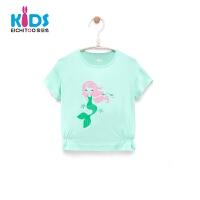 爱居兔童装2018夏季女小童短袖T恤