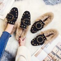 兔毛鞋新款豆豆鞋女冬季加绒棉平底毛毛鞋单鞋外穿瓢鞋大码41-43