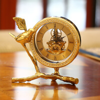欧式钟表摆件客厅座钟台式床头柜时钟美式铜家居北欧酒柜装饰品 金黄色