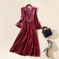 新年特惠金丝大码连衣裙冬季女长袖收腰V领显瘦中长款大摆高端打底长裙 X