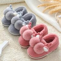 儿童棉拖鞋女秋冬室内家居公主小孩宝宝1-2岁3包跟亲子拖鞋