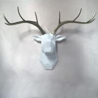 20190420050631828美式复古白色鹿头壁饰现代仿真动物头装饰品创意家居餐厅玄关挂件