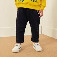 【1件5折后到手价:184.5元】马拉丁童装男小童2019新款秋装洋气立体小装饰休闲裤个性牛仔长裤
