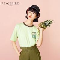 太平鸟绿色胶印短袖T恤女2019春夏装新款街头运动休闲衣服女上衣