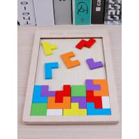 儿童拼图七巧板智力开发积木1幼儿2男女孩5木质3-4-6周岁益智玩具